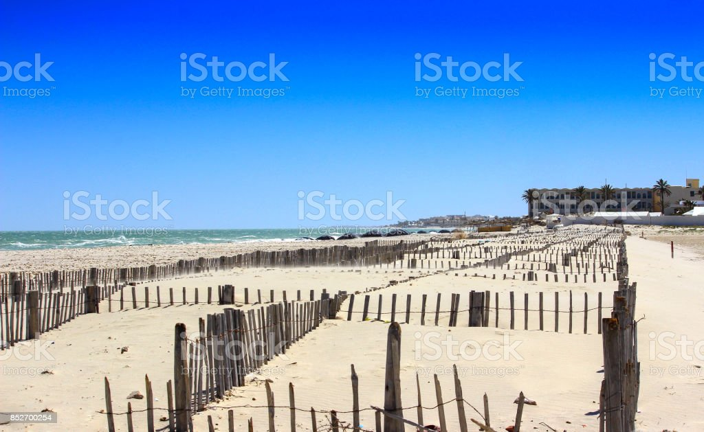 Cote djerba Tunisie, (digue) stock photo
