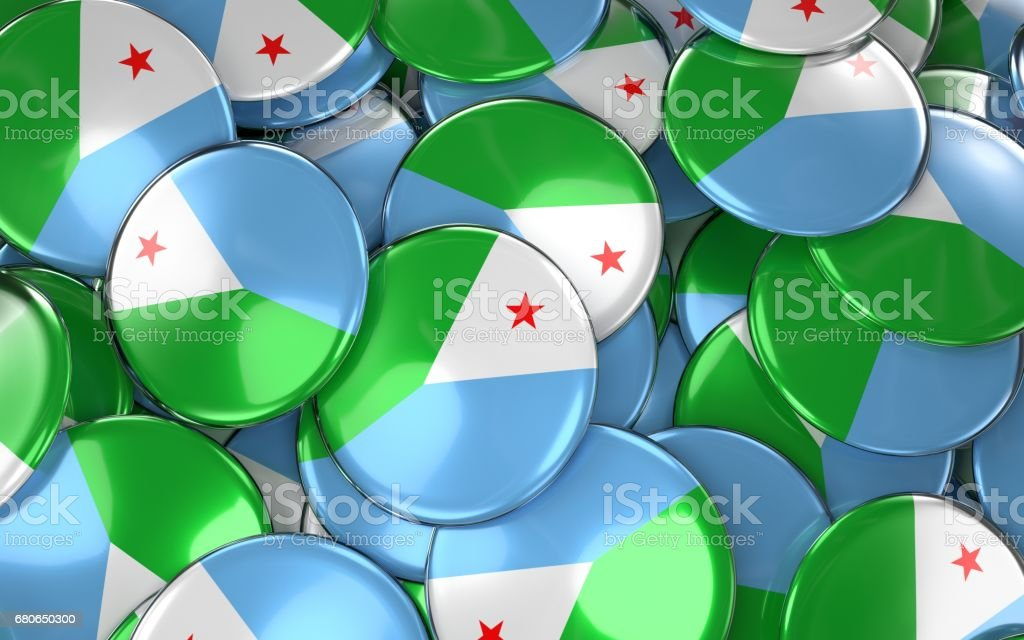 Djibouti Badges Background - Pile of Djiboutian Flag Buttons. vector art illustration