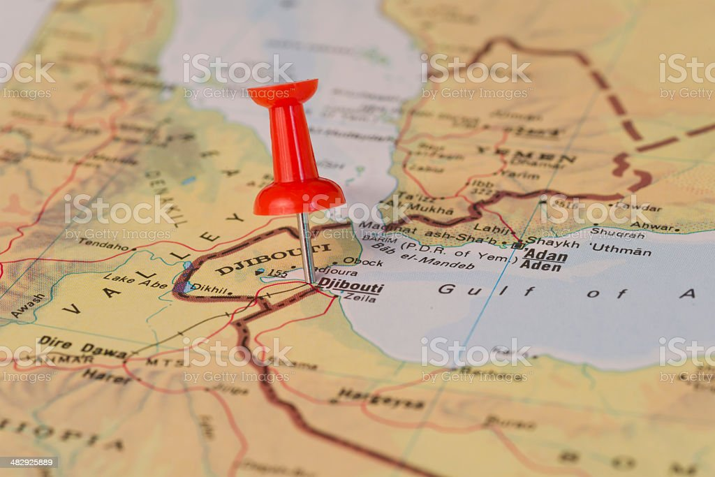 Djibouti Zeila Marked With Red Pushpin on Map stock photo