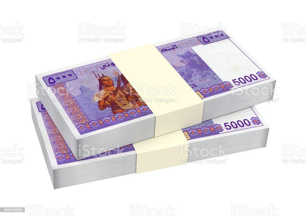 Djiboutian franc bills isolated on white background. stock photo