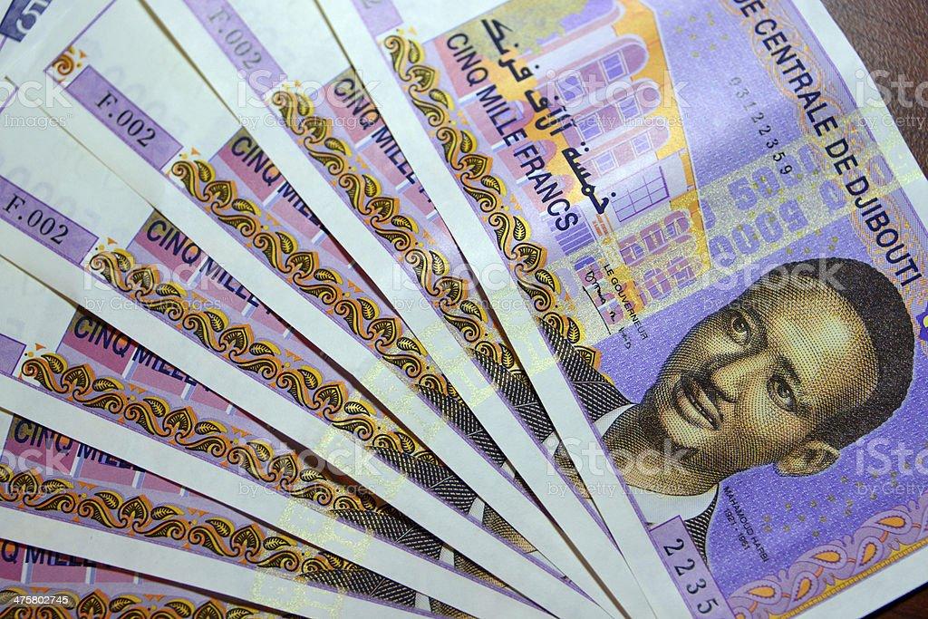 Djiboutian money, 5000 Djiboutian franc bank notes stock photo