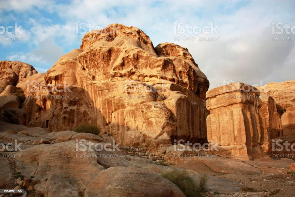 Djin blocks and Bab as Siq in ancient nabatean city of Petra in Jordan, Middle East stock photo