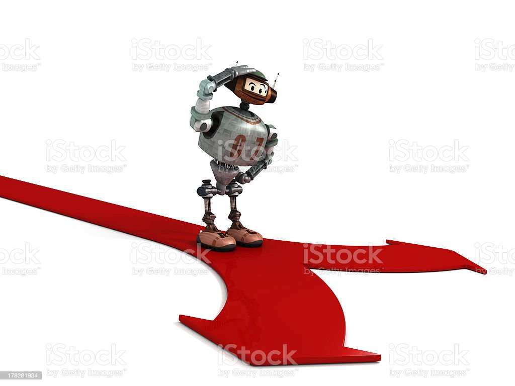 Djoby the robot thinking about two ways royalty-free stock photo