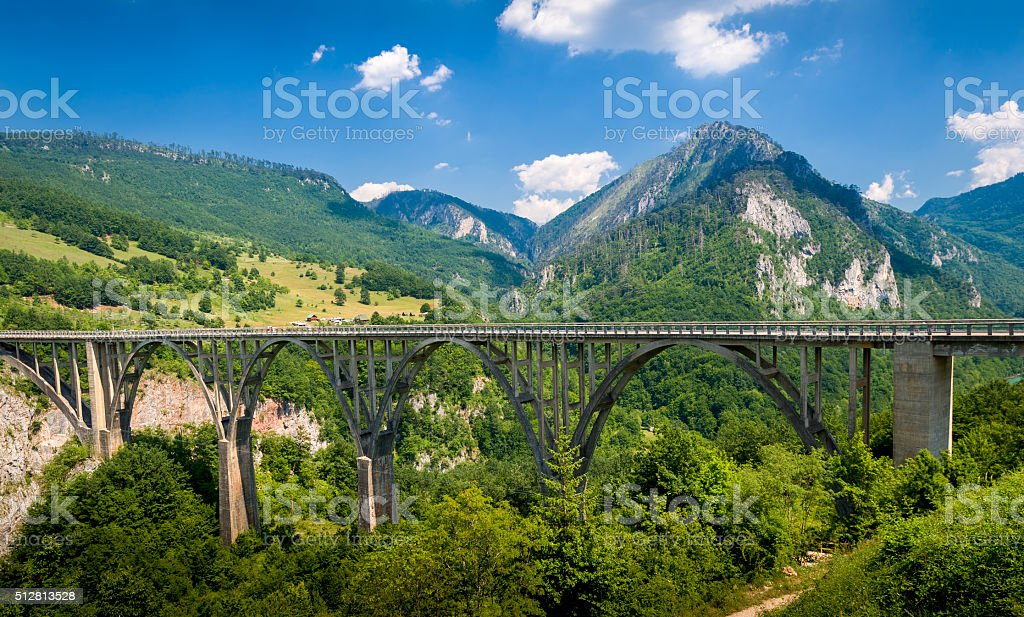 Djurdjevic Bridge over the Tara River Canyon stock photo