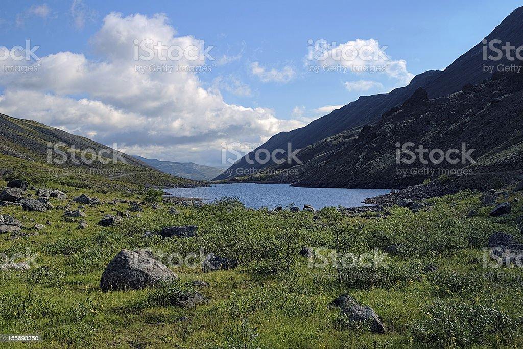 Dlinnoe lake in Khibiny Mountains, Russia stock photo