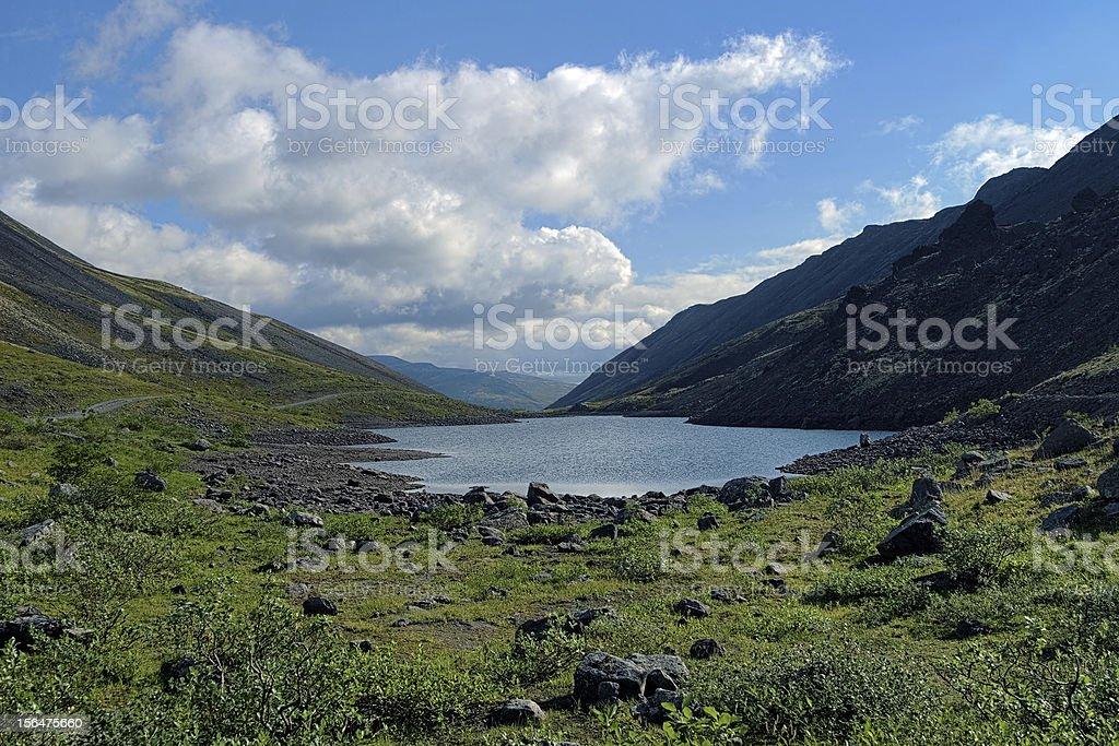 Dlinnoe lake in Khibiny Mountains, Russia royalty-free stock photo