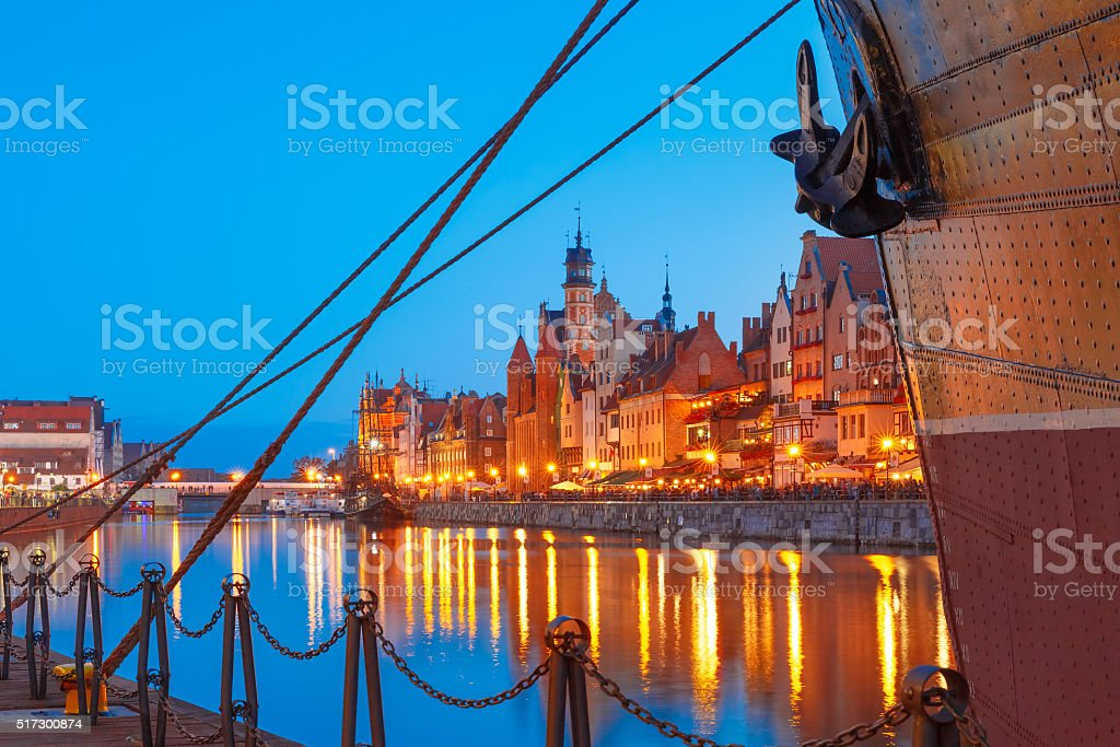 Dlugie Pobrzeze and Motlawa River, Gdansk, Poland stock photo