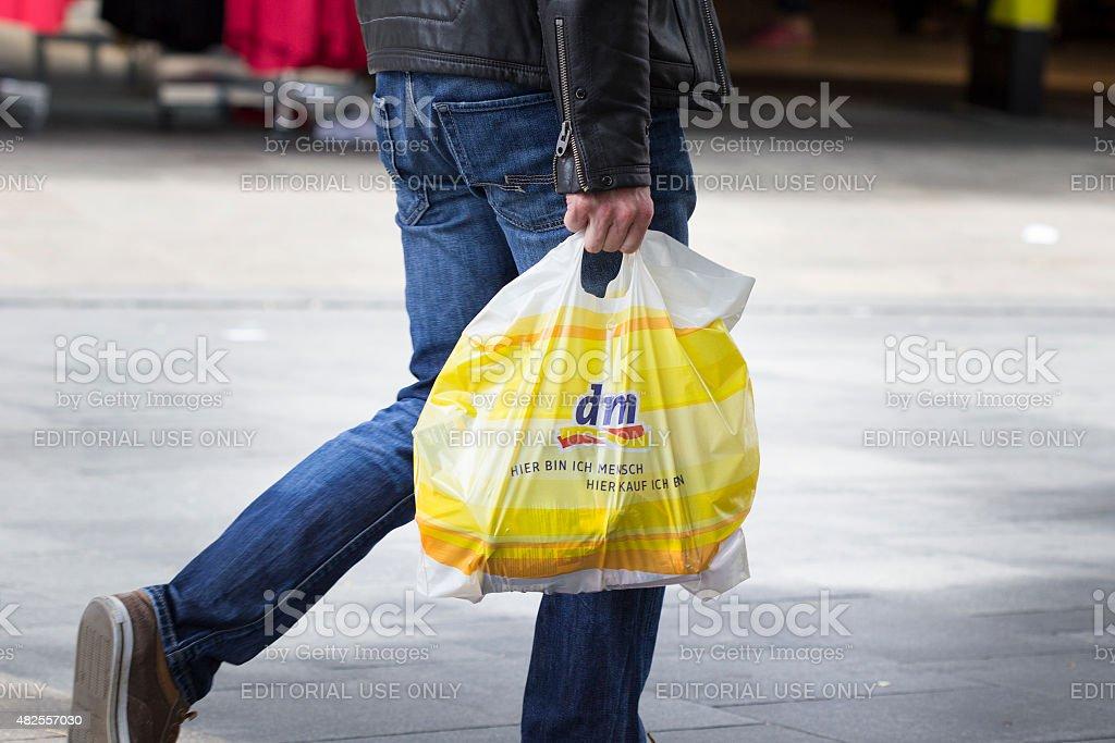 dm-drogeriemarkt plastic bag shopping street sale stock photo