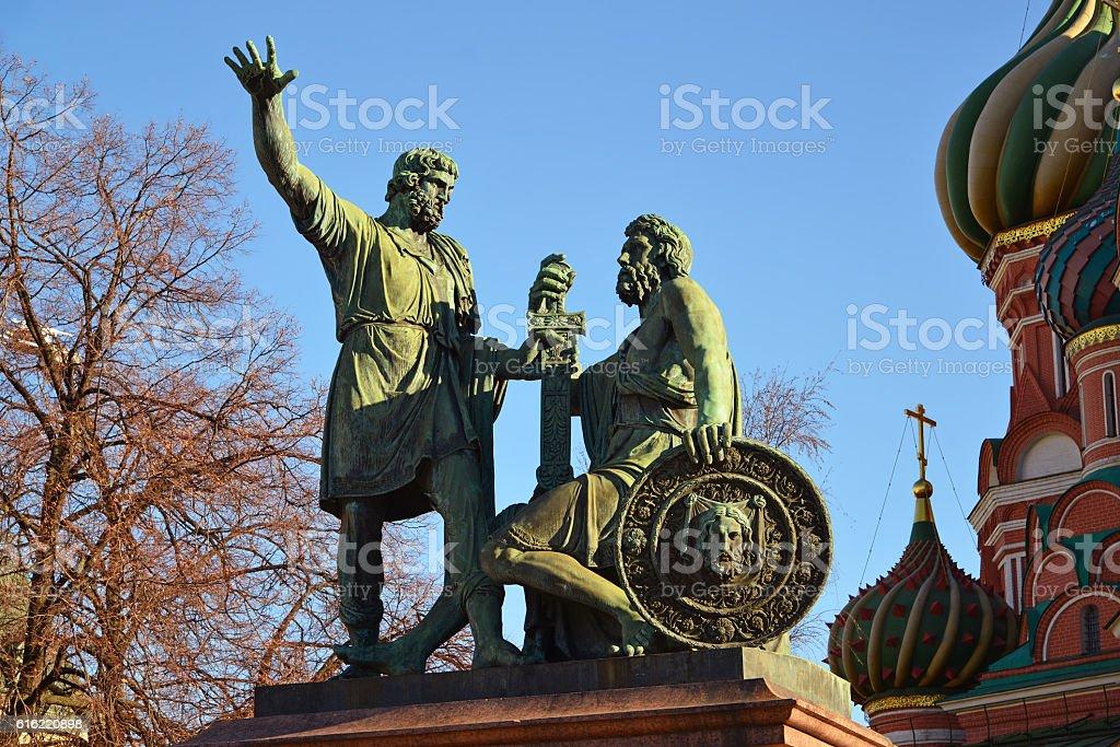 Dmitry Pozharsky and Kuzma Minin monument on Red Square stock photo