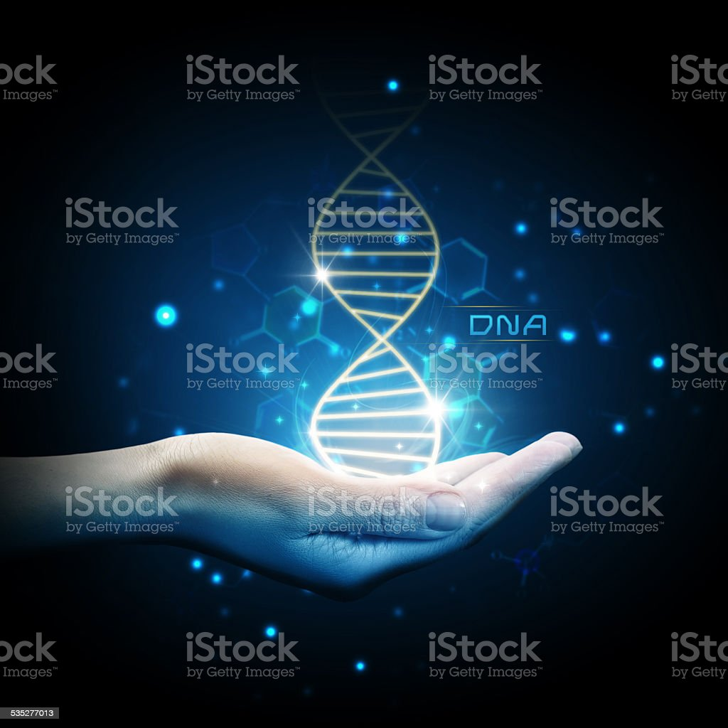 Dna on hand stock photo