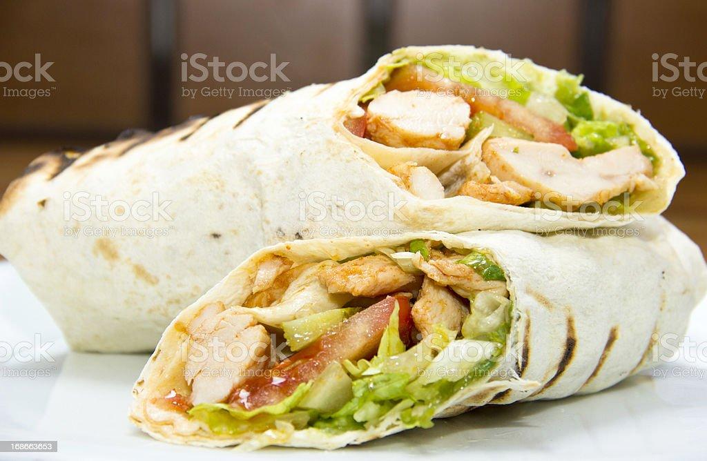 D?ner kebap - Chicken Salad Sandwich Wrap royalty-free stock photo