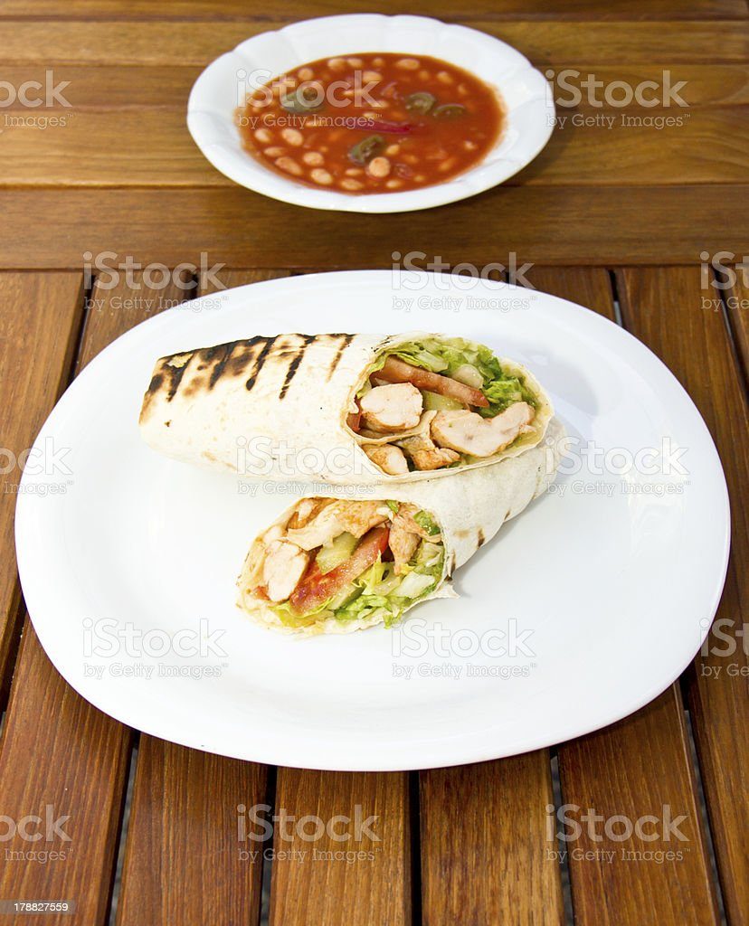 Döner kebap - Chicken Salad Sandwich Wrap stock photo