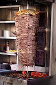 Dönerspieß, shawarma or kebab skewer