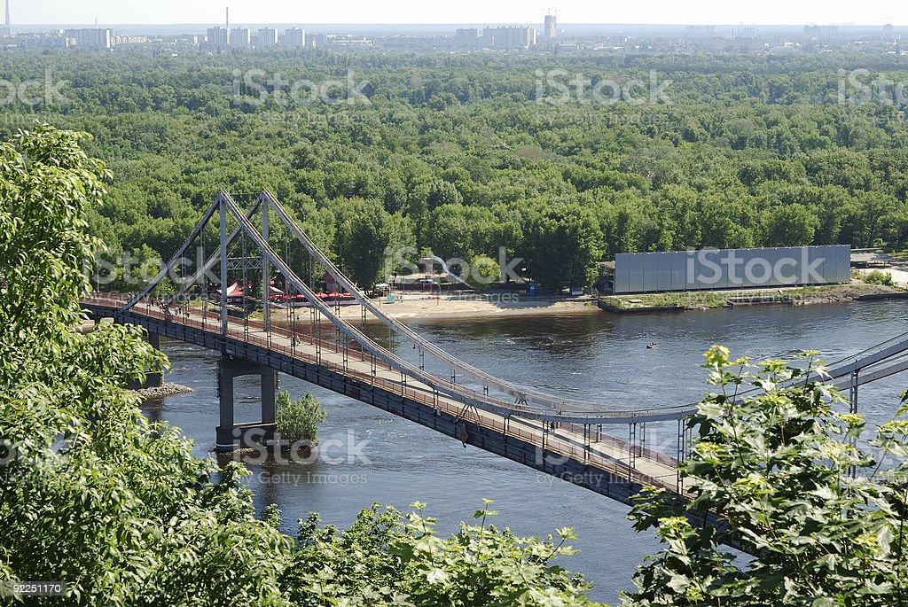 Dnipro with bridge to the Truhanov island, Kijv stock photo
