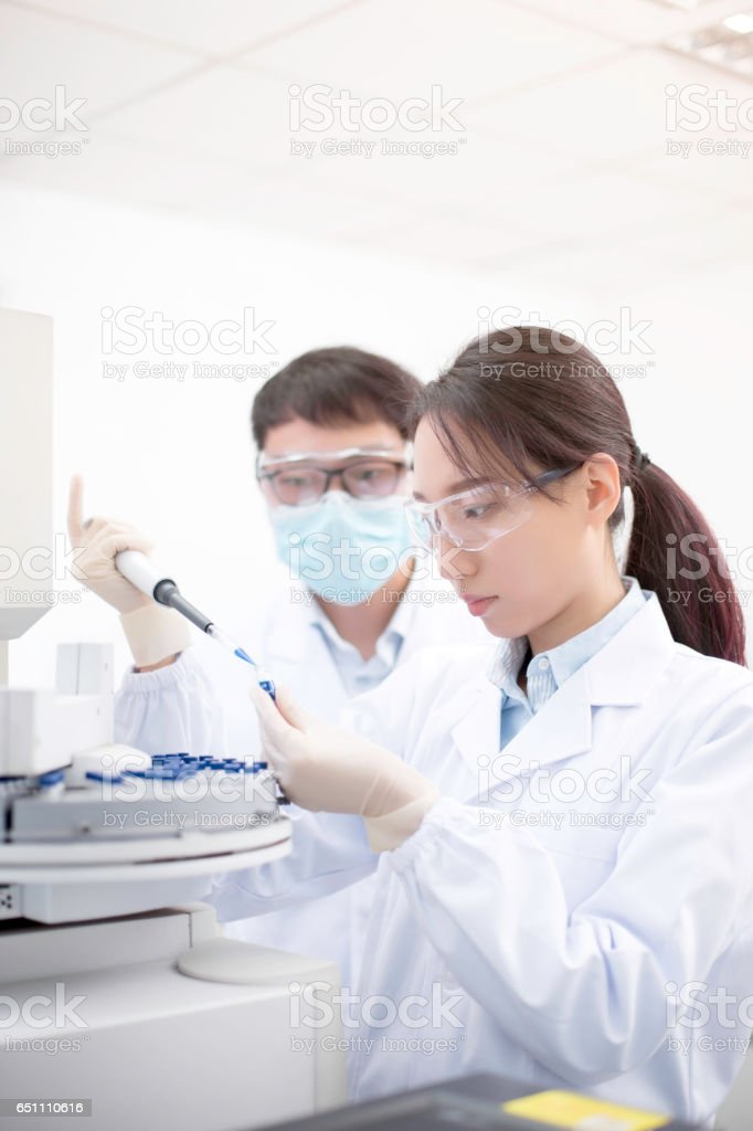 Do experiments in the laboratory. stock photo