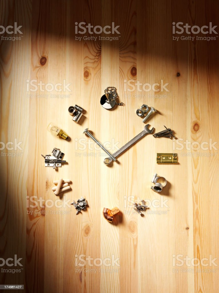 Do it Yourself Clock Face on Wood stock photo