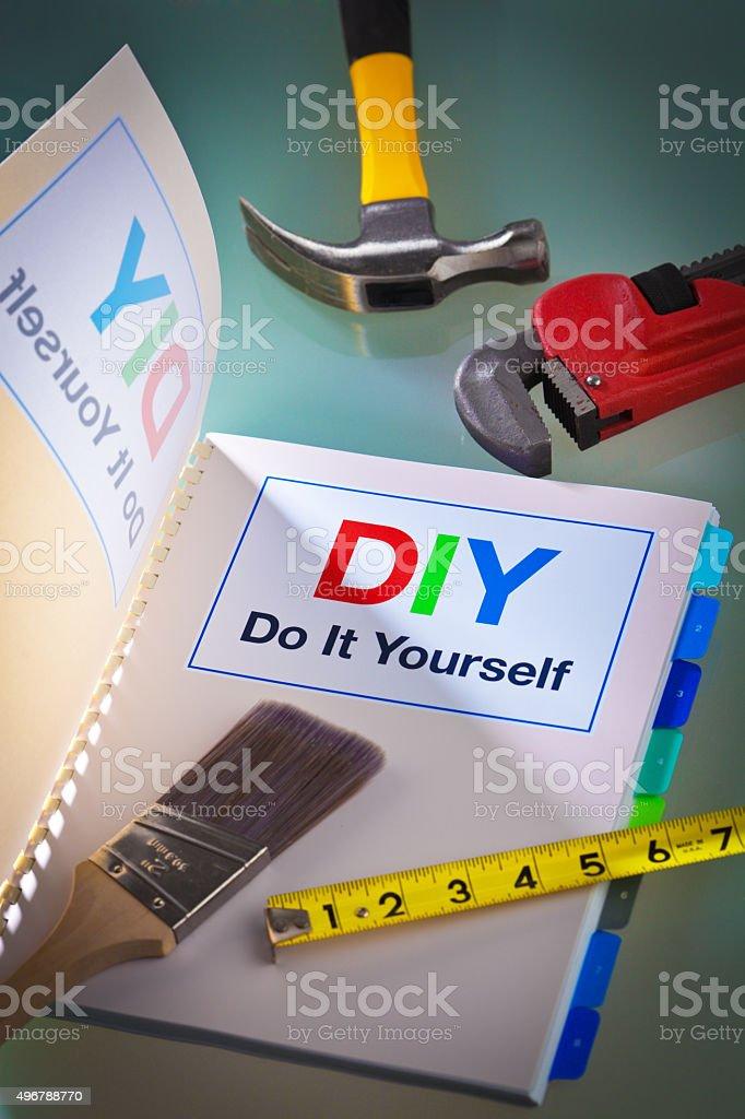 DIY Do It Yourself Tools and Manual Instruction Handbook stock photo