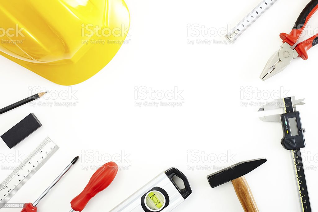 Do it yourself - Work tools arranged like a frame royalty-free stock photo