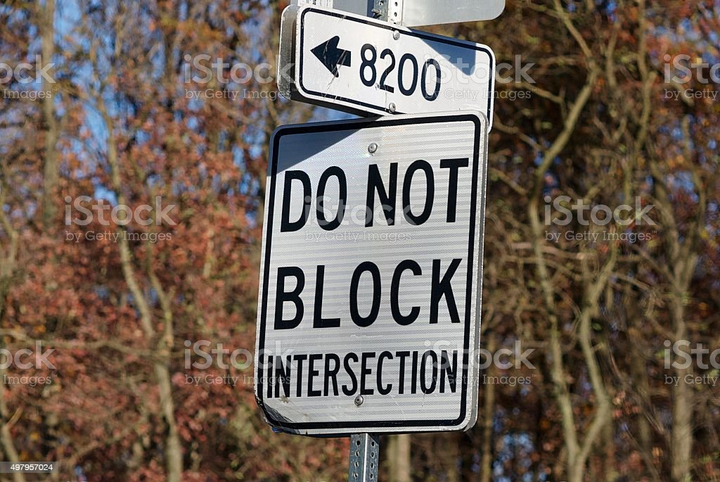 'Do Not Block Intersection' Road Sign stock photo