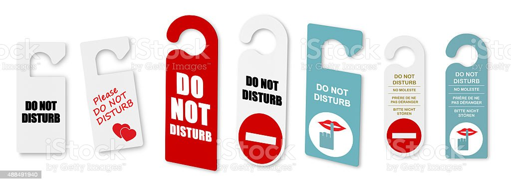 Do not disturb door signs stock photo