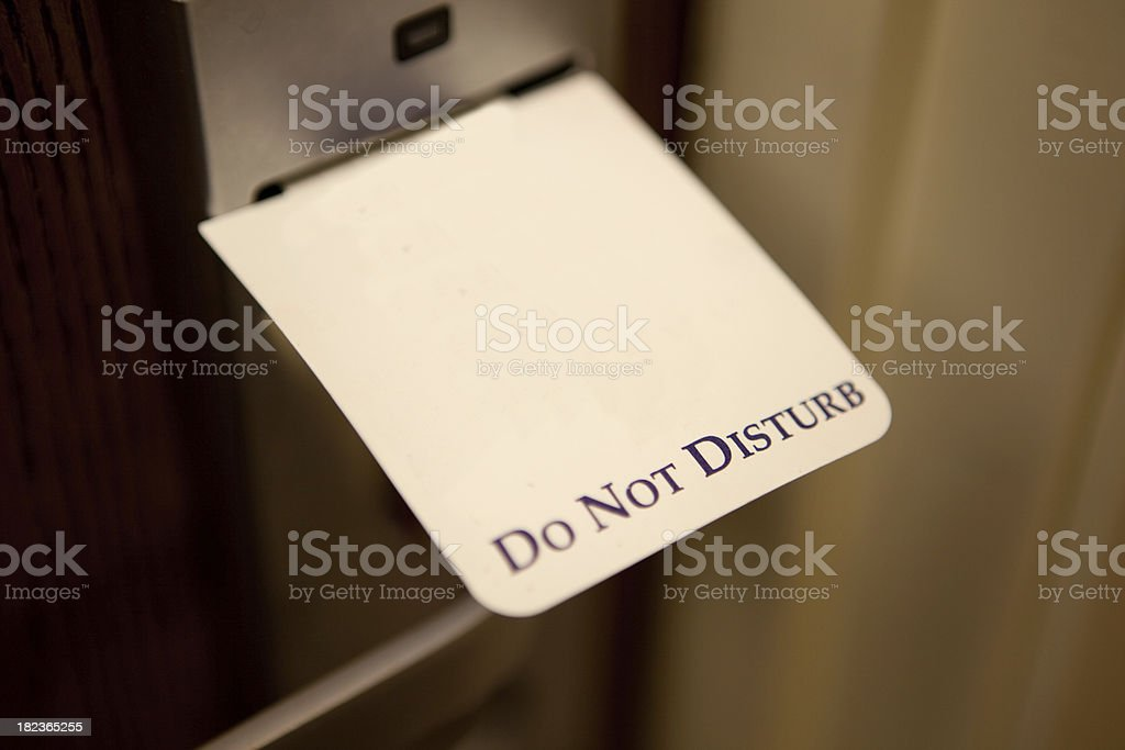 Do not disturb sign in a hotel door stock photo