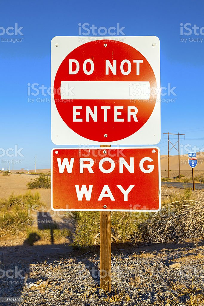 do not enter Sign at the highway with blue sky stock photo
