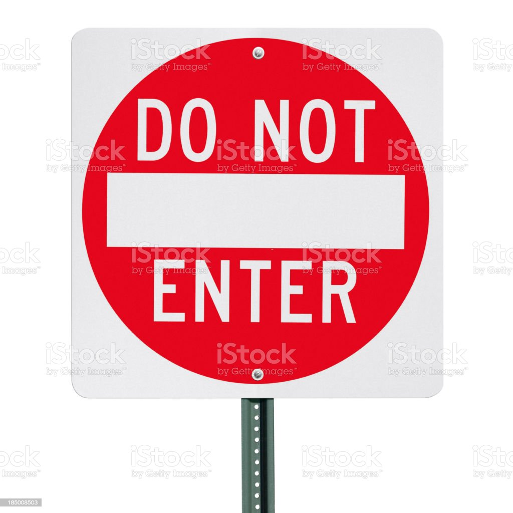 Do Not Enter Sign Post Isolated with Clipping Path stock photo