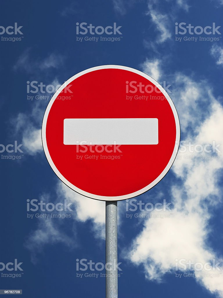 Do not enter traffic sign on a sky background stock photo