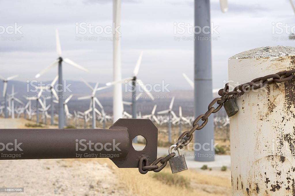 Do not enter wind turbines area royalty-free stock photo