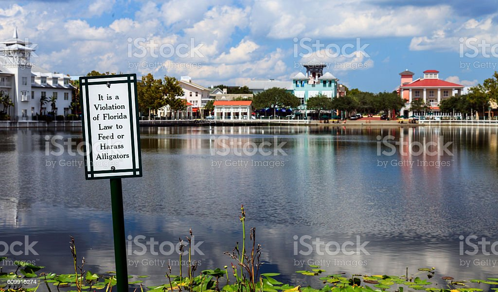 Do Not Feed Alligators in Town Center Lake stock photo