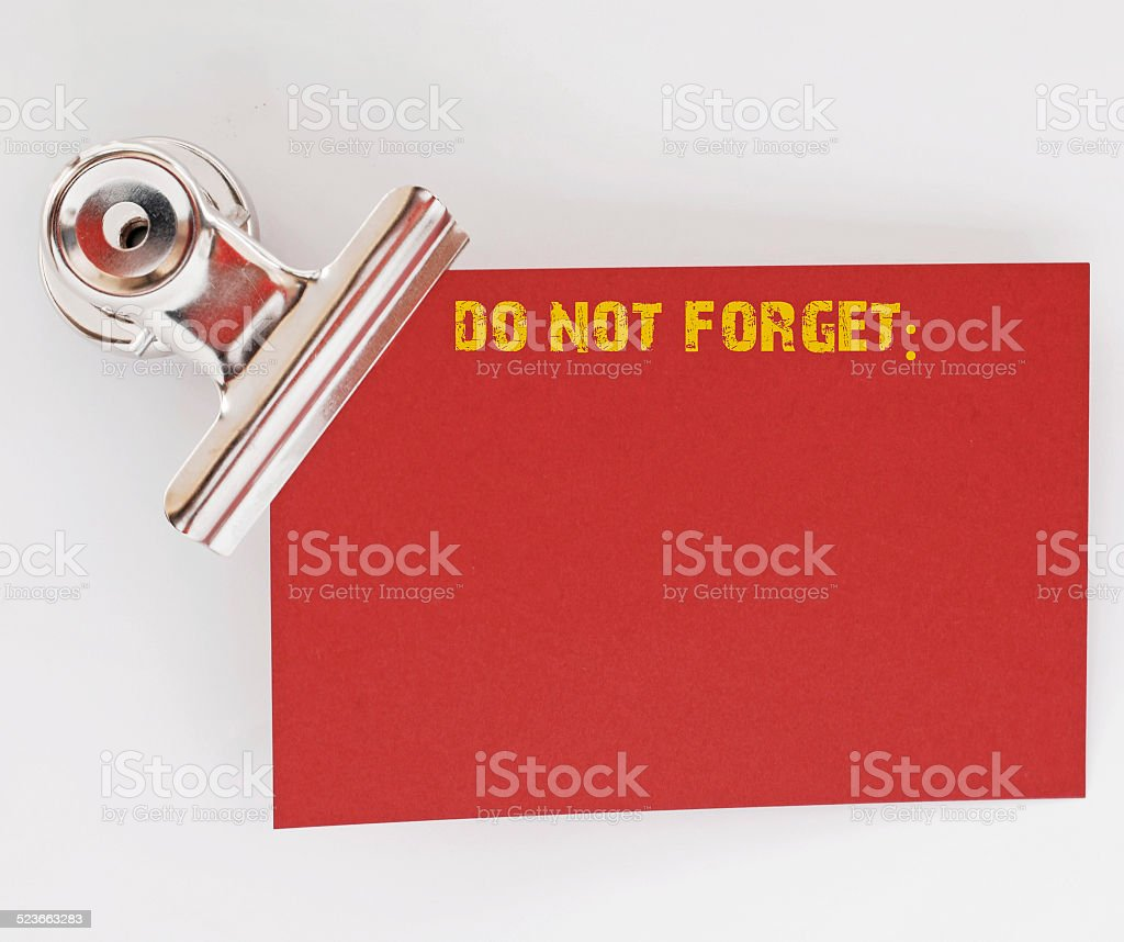 Do not forget, red paper stock photo
