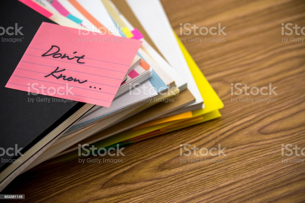 Do Not Know; The Pile of Business Documents on the Desk stock photo