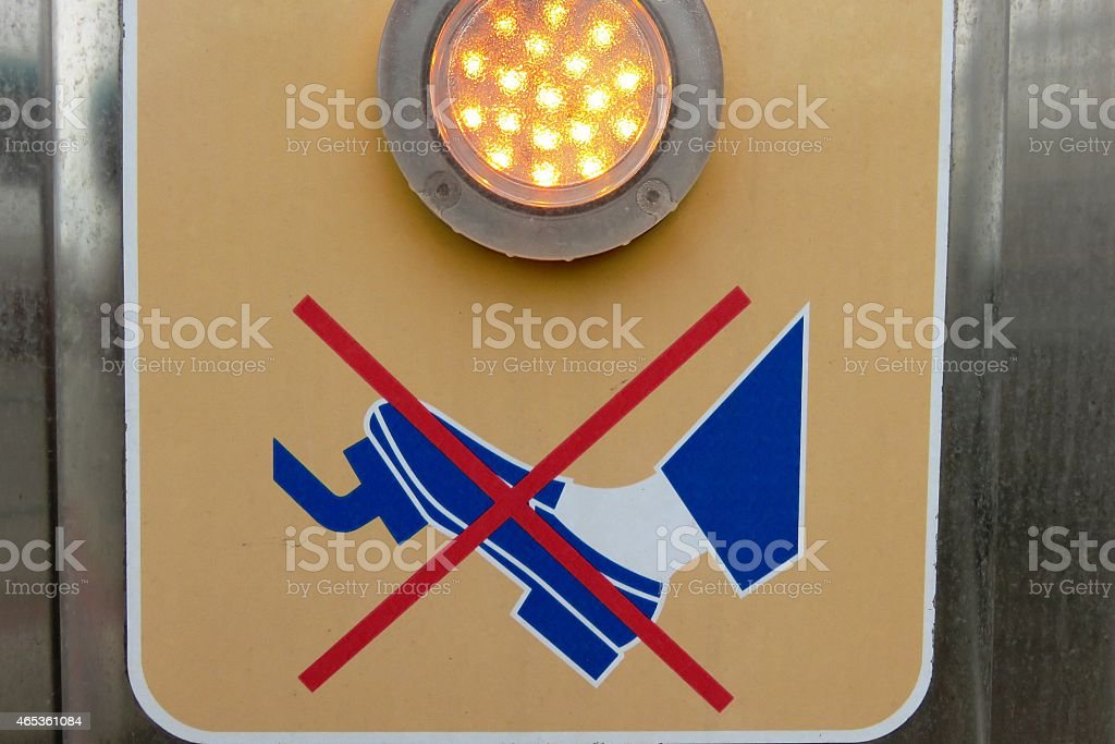 Do not press the brake sign at Car wash business stock photo