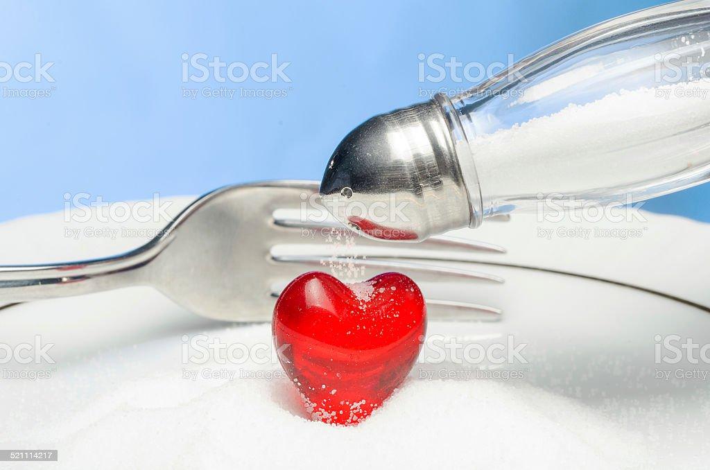 Do not throw salt in your heart! stock photo