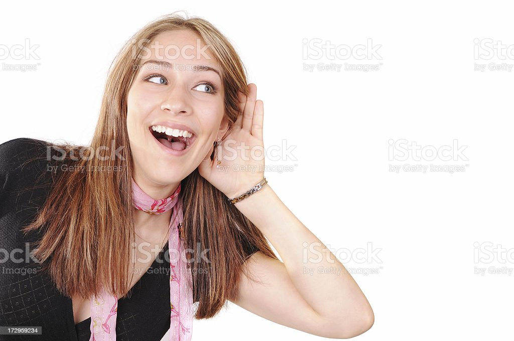 Do you hear it? stock photo
