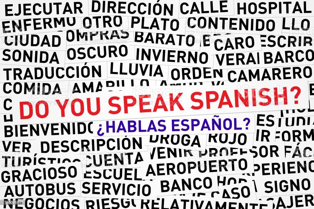 Do you speak Spanish banner across jumbled Spanish words stock photo