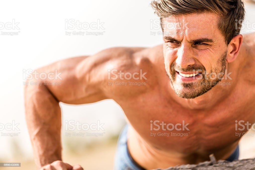 Do you think its easy to build muscles? stock photo