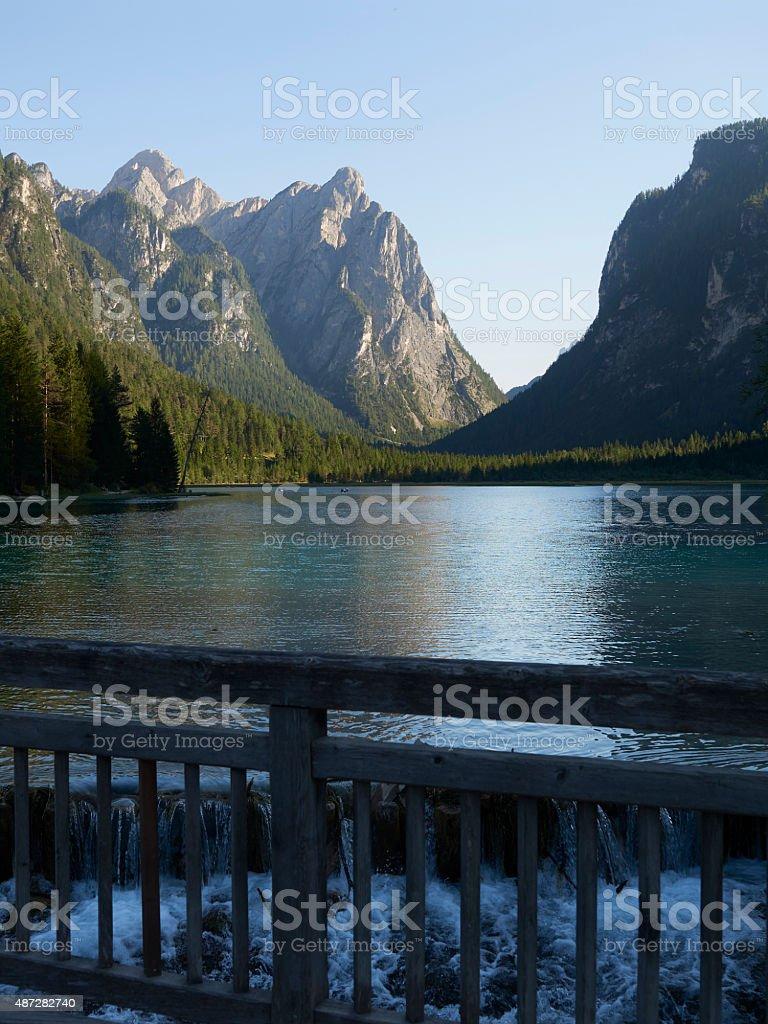 Dobbiaco Lake. Color Image stock photo