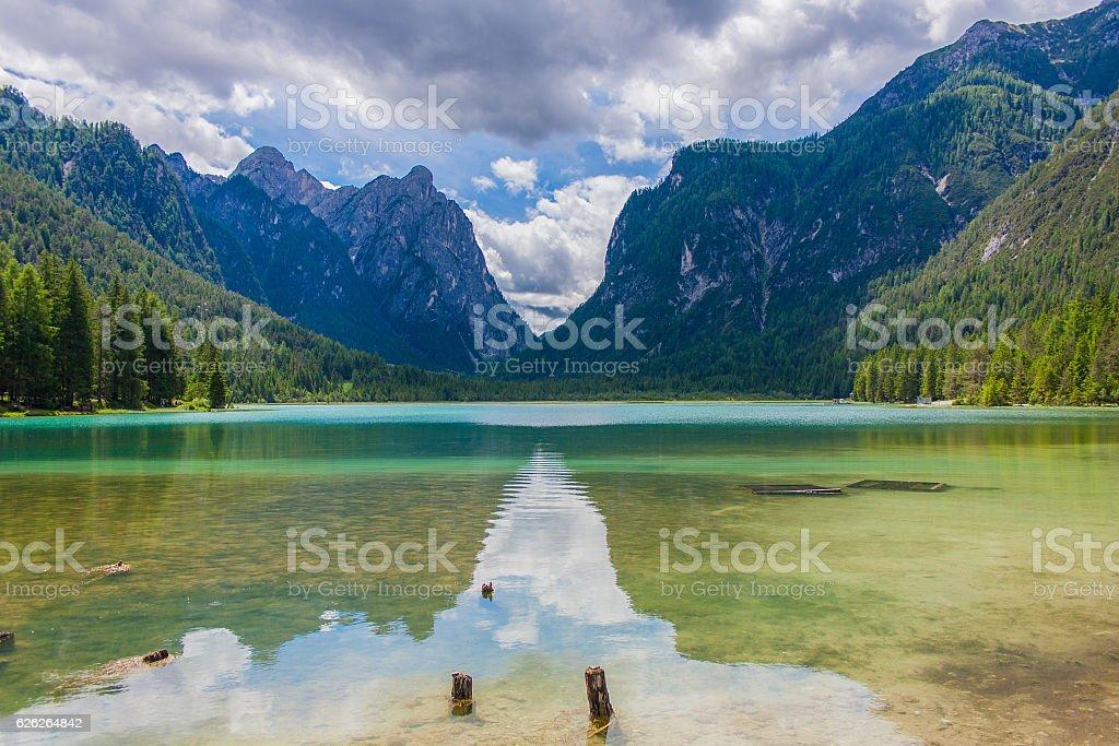 Dobbiaco Lake, Italian Alps stock photo