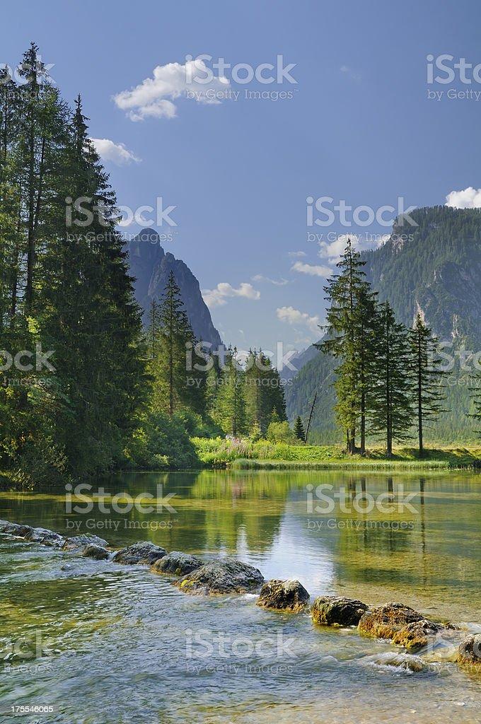 Dobbiaco Lake [Toblacher See] stock photo