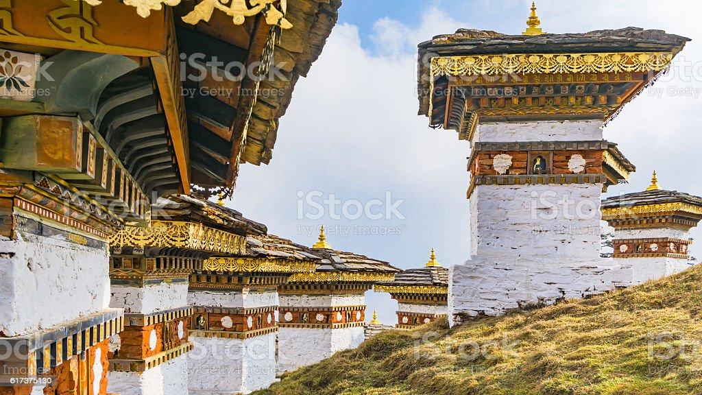 Dochula pass 108 chortens, Bhutan. stock photo