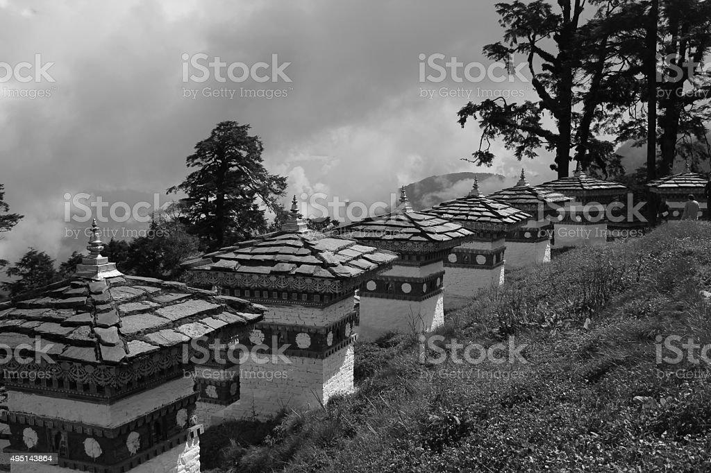 Dochula Pass- Black & White stock photo