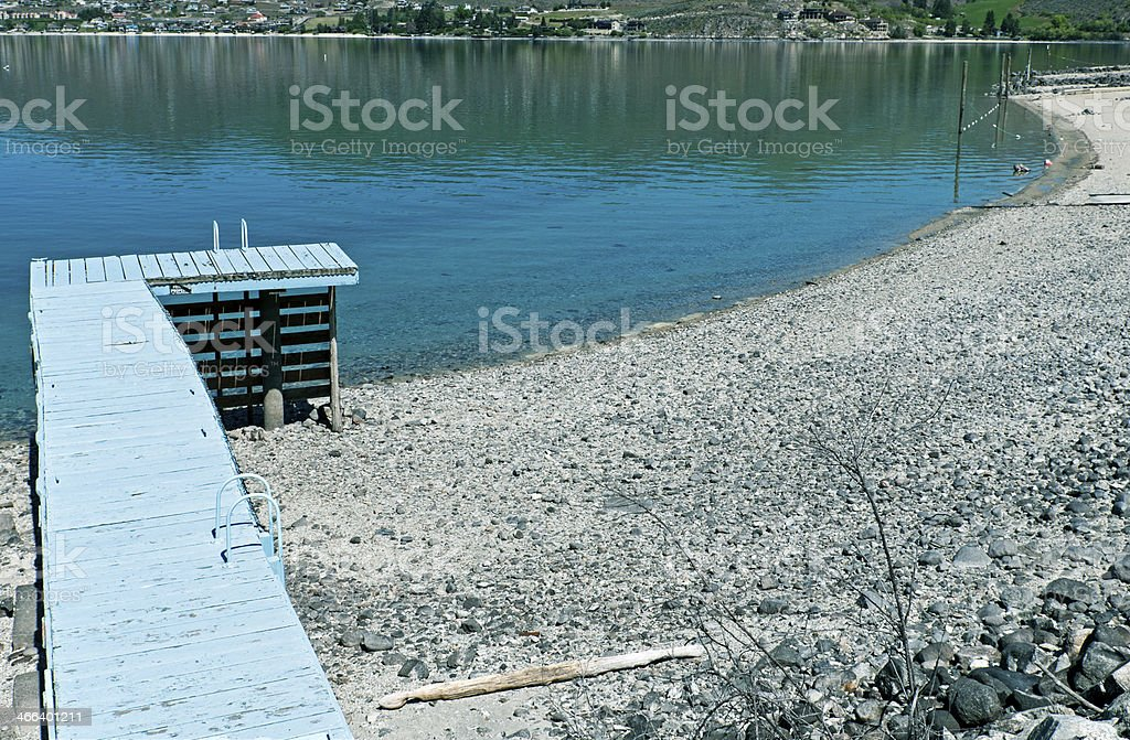Dock and beach at Lake Chelan in Washington state stock photo