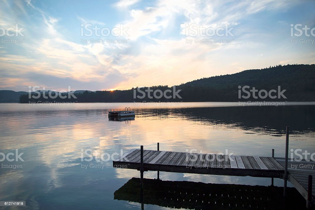 Dock and Diving Platform, Little Squam Lake, NH stock photo