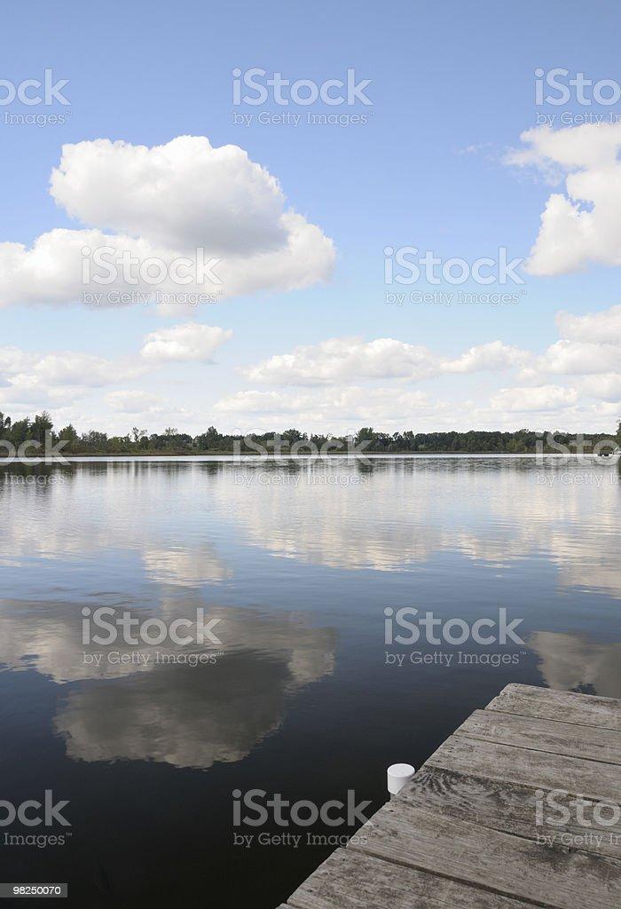 Dock and Lake in Michigan stock photo