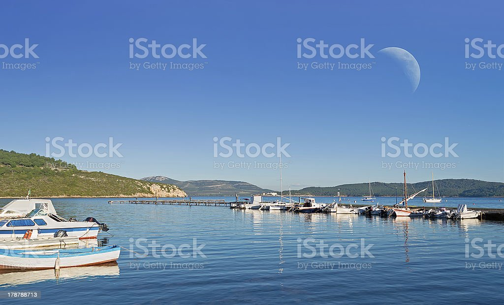 dock and moon royalty-free stock photo