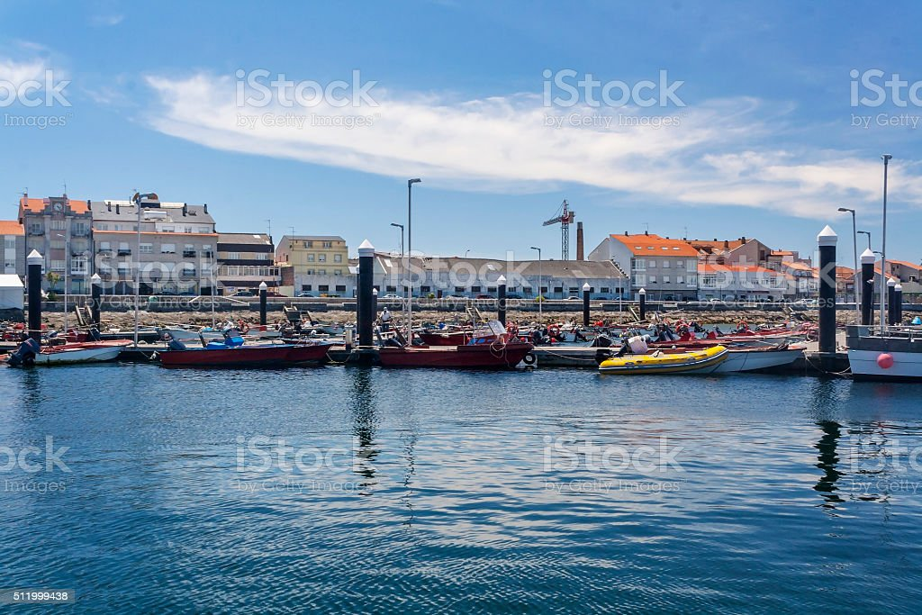 Dock at fishing port in Arousa Island stock photo