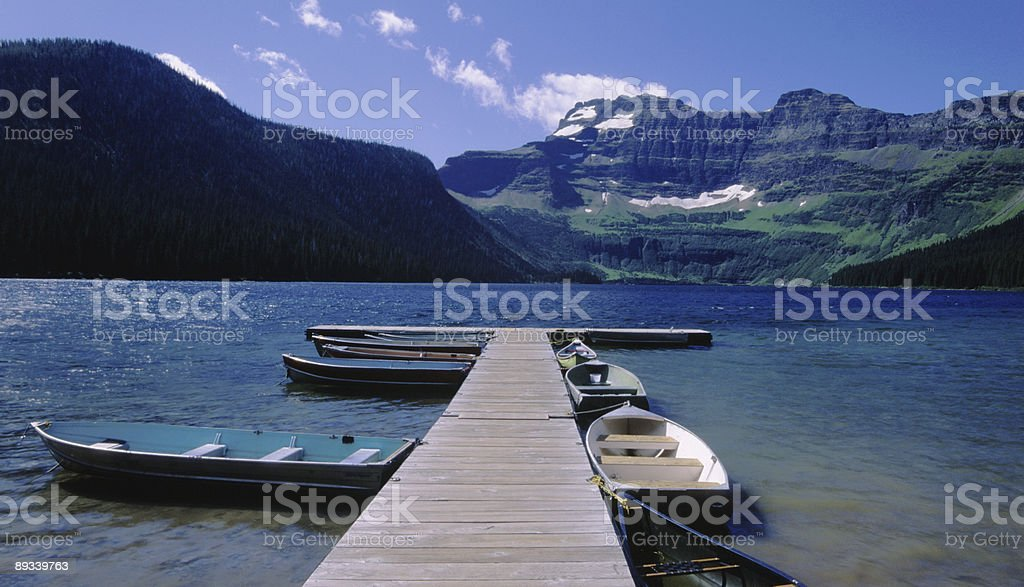 Dock at Glacier National Park stock photo