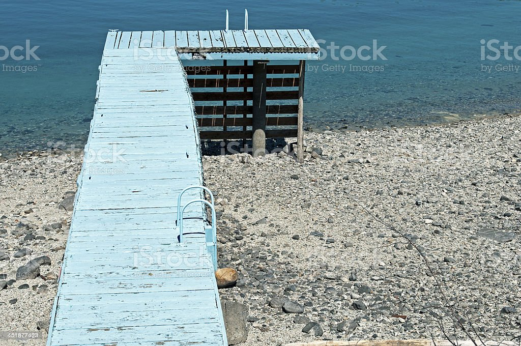 Dock at lake in time of low water stock photo