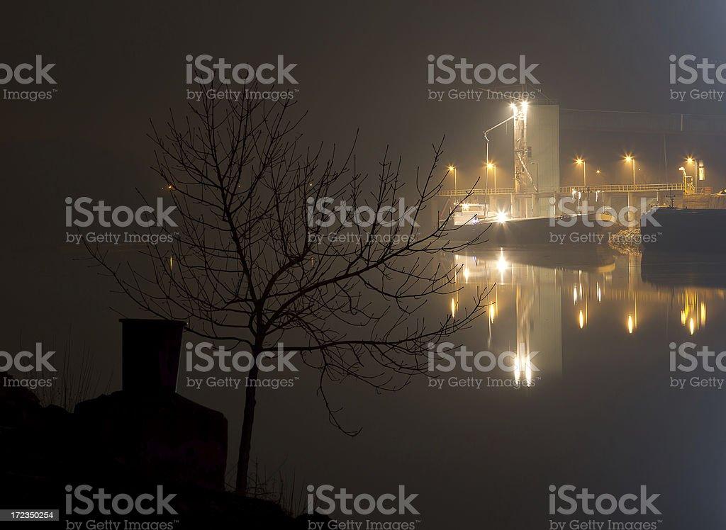 Dock at night royalty-free stock photo